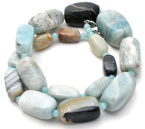 Chunky Blue Lace Agate Bead Necklace 19""
