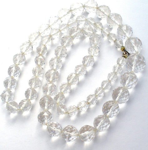 "Clear Crystal Bead Necklace 28"" 14K Gold Vintage"