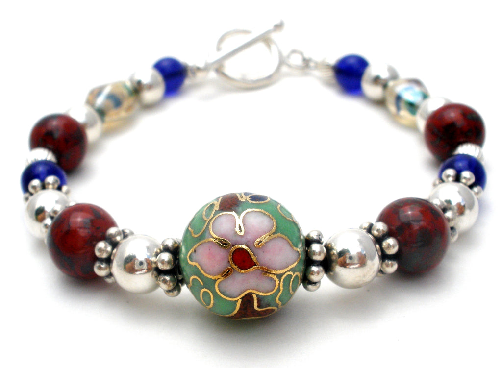 "Cloisonne Sterling Silver Bead Bracelet 7"" - The Jewelry Lady's Store"