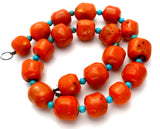 "Coral & Turquoise Bead Necklace 18"" - The Jewelry Lady's Store"