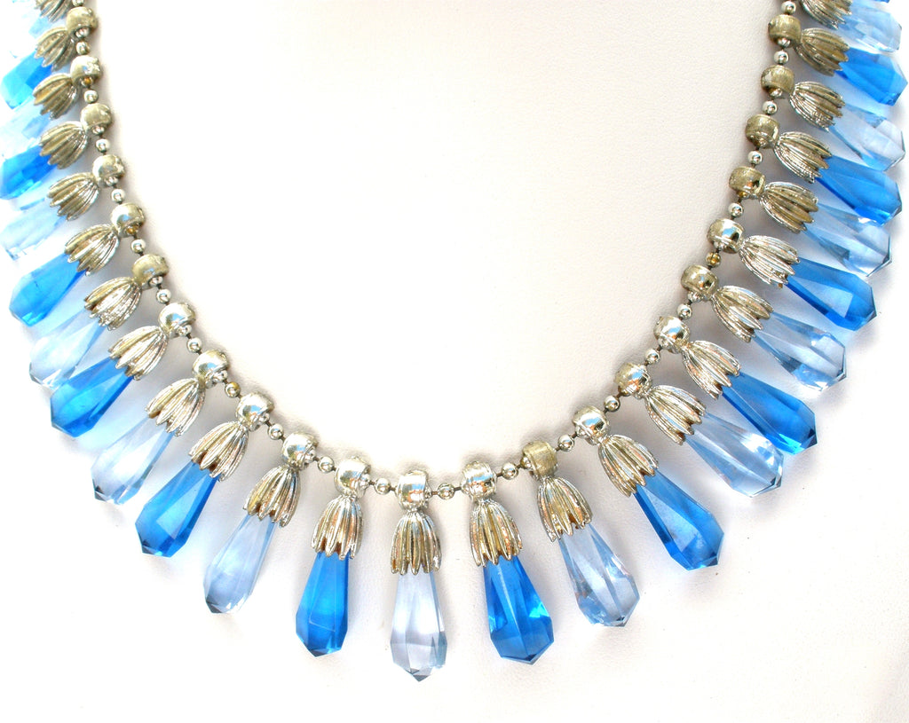 Coro Blue Festoon Necklace Vintage - The Jewelry Lady's Store