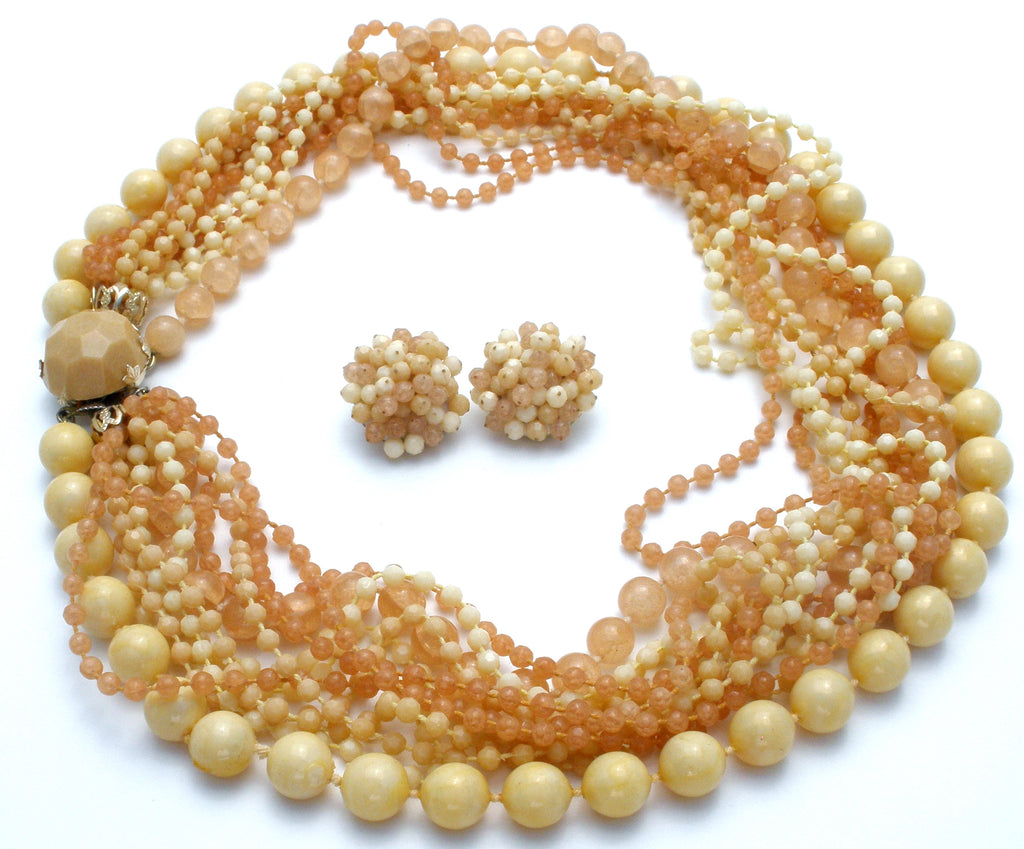 Cream & Beige Multi Strand Bead Necklace Set Vintage - The Jewelry Lady's Store