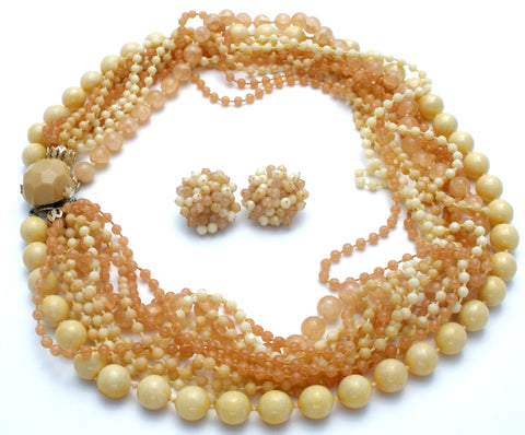Cream & Beige Multi Strand Bead Necklace Set Vintage