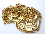 Crown Trifari Gold Greek Key Necklace Vintage - The Jewelry Lady's Store