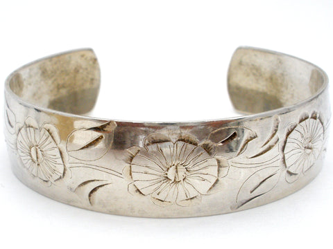 Daisy Sterling Silver Cuff Bracelet by S. Kirks and Son