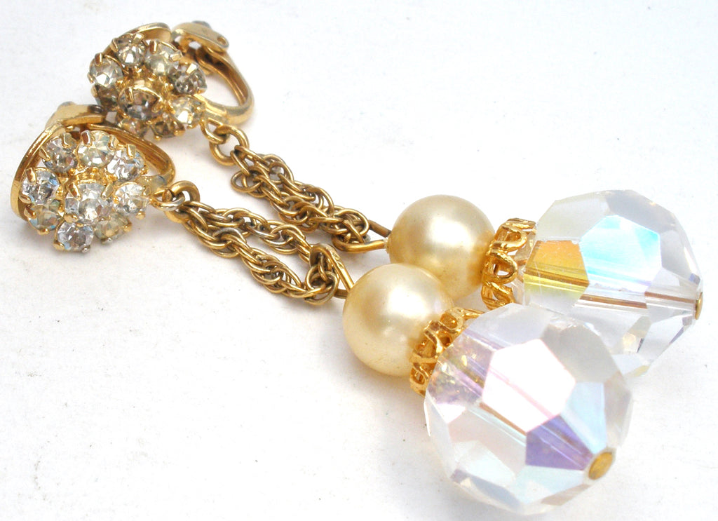 Dangle Crystal Bead & Rhinestone Earrings Vintage - The Jewelry Lady's Store