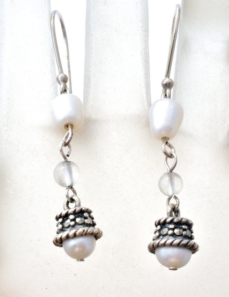 Dangle Pearl Earrings in Sterling Silver - The Jewelry Lady's Store