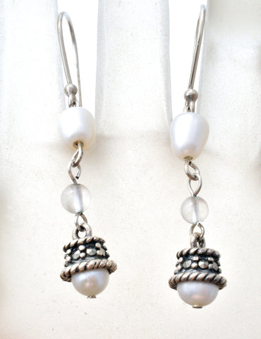 Dangle Pearl Earrings in Sterling Silver