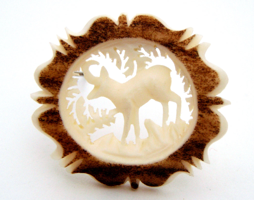 Deer Brooch Pin Hand Carved Bone Austria - The Jewelry Lady's Store - 1