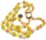 Double Strand Yellow & Pink Bead Necklace Vintage - The Jewelry Lady's Store