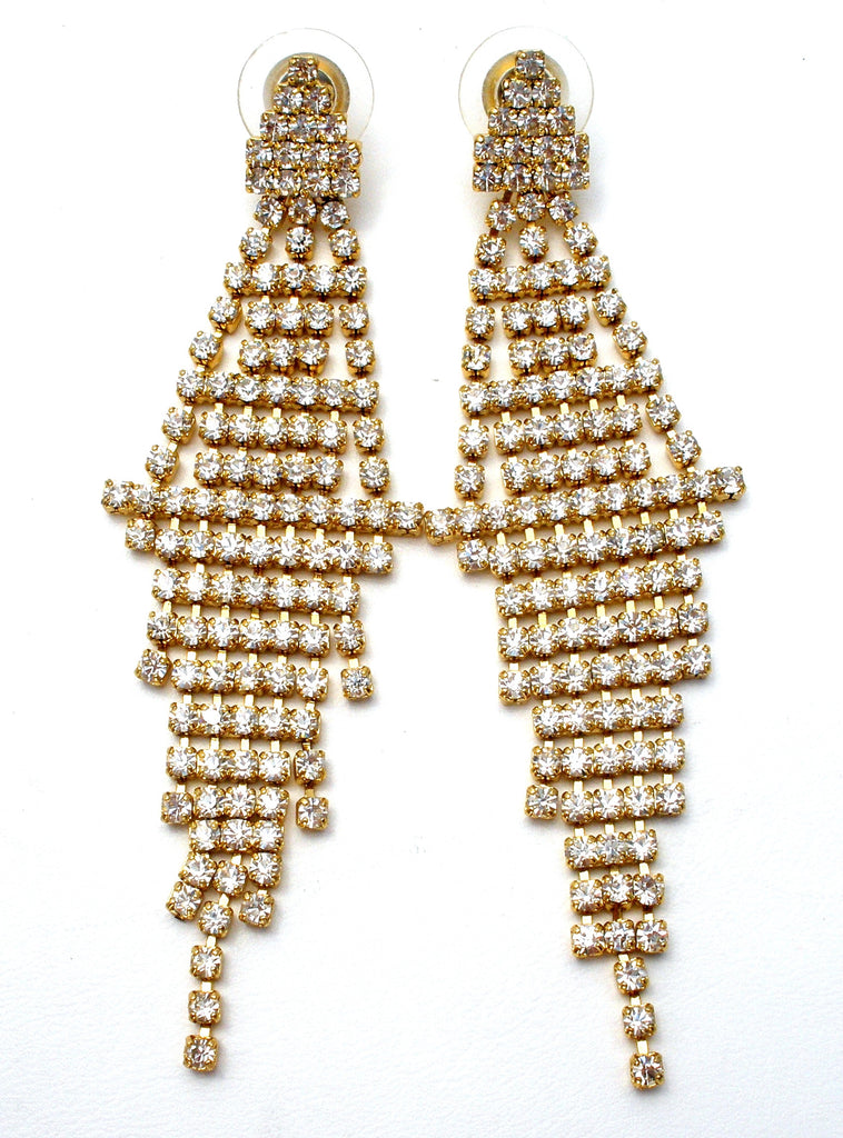 Drippy Clear Rhinestone Dangle Earrings Vintage - The Jewelry Lady's Store