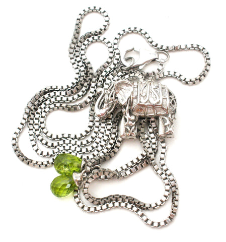 Elephant Necklace with Peridots Sterling Silver