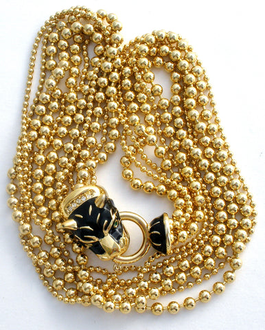 Ellen Kiam Panther Bead Necklace Vintage