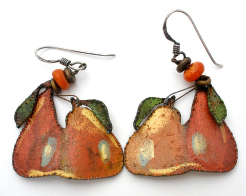 Enamel Pear Earrings Sterling Silver Dangles