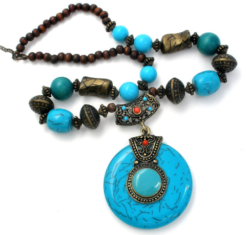 Faux Turquoise Bead Necklace Statement