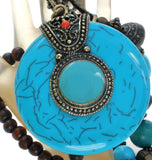 Faux Turquoise Bead Necklace Statement - The Jewelry Lady's Store