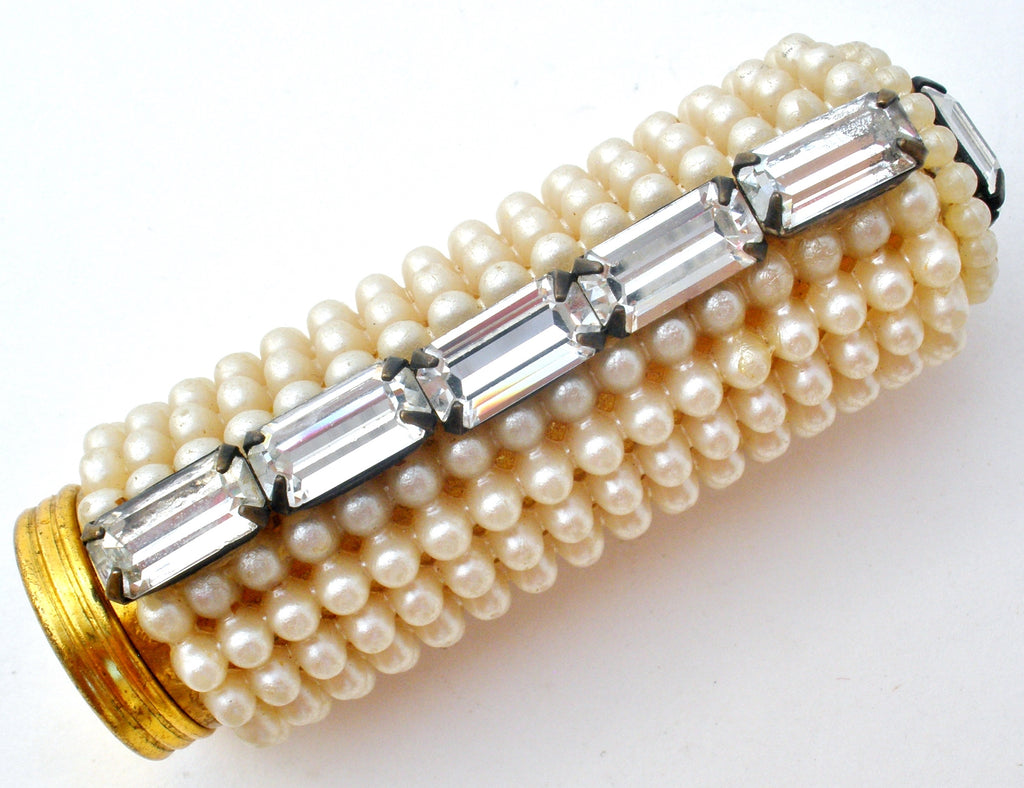 Faux Pearl & Rhinestone Lipstick Holder Vintage - The Jewelry Lady's Store