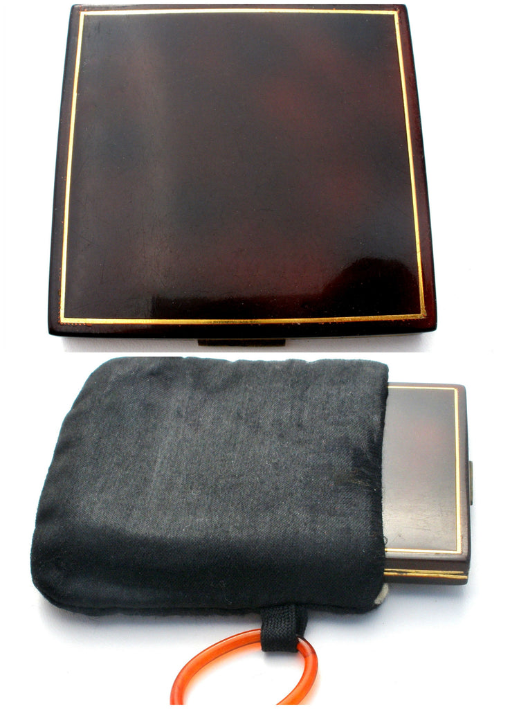 Faux Tortoise Shell Mirror Compact in Finger Ring Purse - The Jewelry Lady's Store