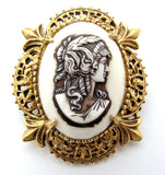Florenza Cameo Gold Brooch Pin Vintage - The Jewelry Lady's Store
