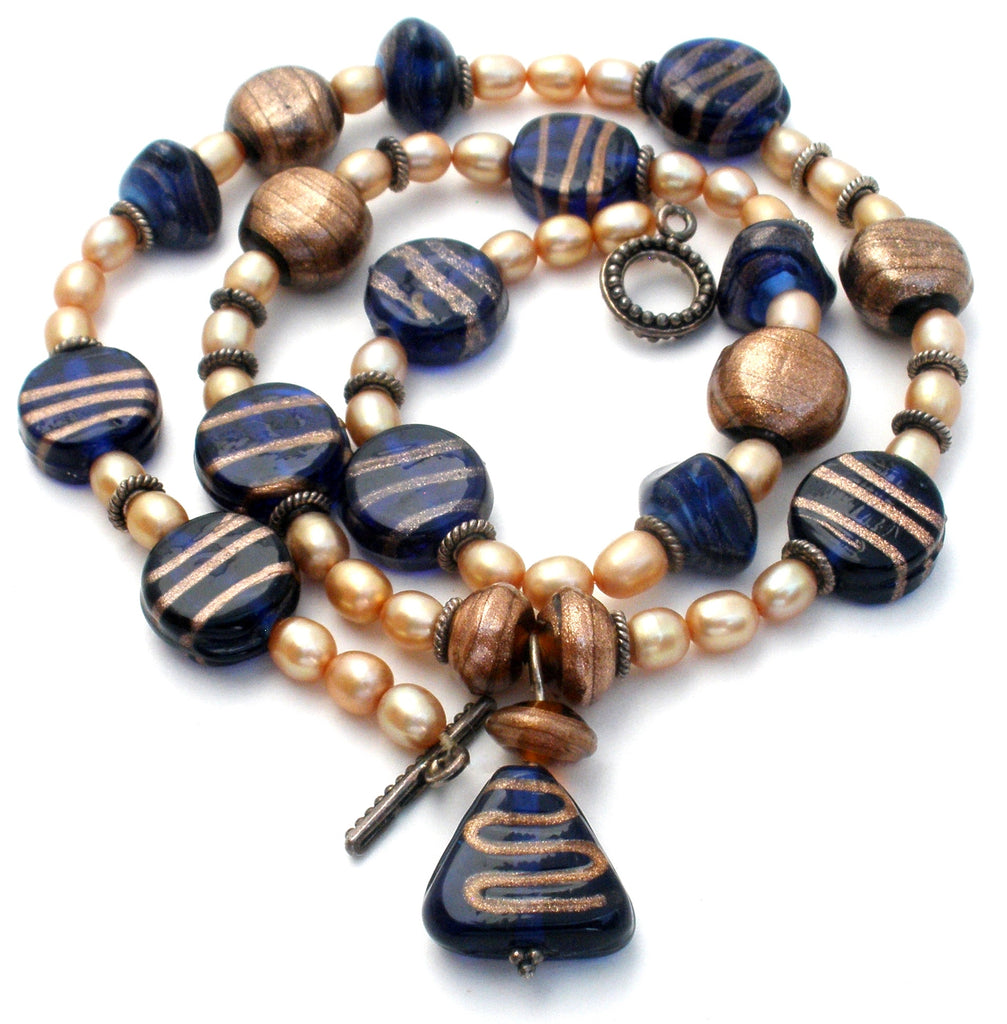 Foiled Blue Glass Bead & Pearl Necklace - The Jewelry Lady's Store