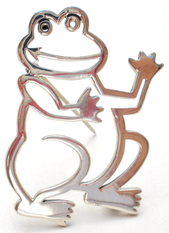 Frog Pin Sterling Silver by Frank Chavez