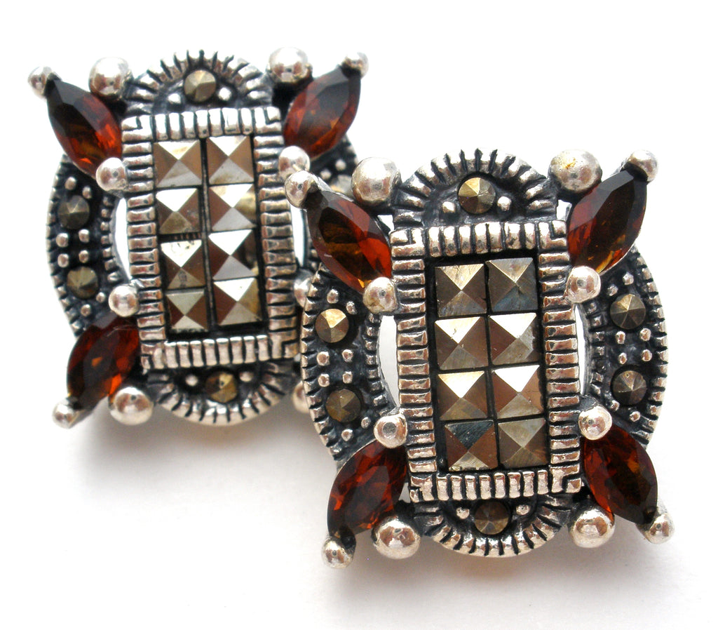 Garnet & Marcasite Sterling Silver Earrings - The Jewelry Lady's Store
