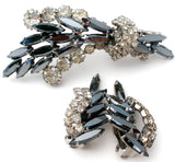 Gray & Clear Rhinestone Brooch Set Vintage - The Jewelry Lady's Store