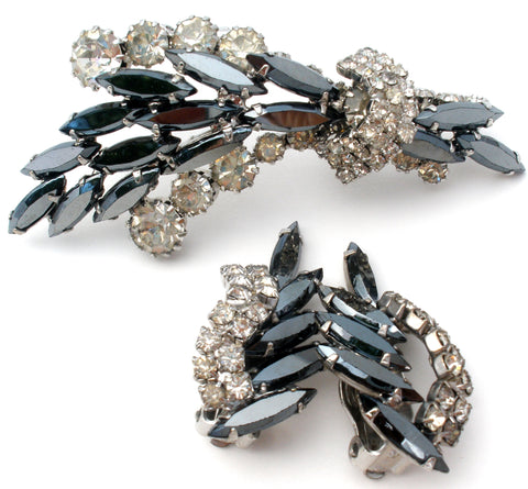 Gray & Clear Rhinestone Brooch Set Vintage