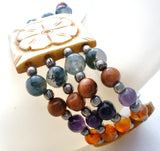 Gemstone Bead Bracelet with Carved Bead Flowers - The Jewelry Lady's Store