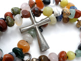 Gemstone Bead Cross Necklace Sterling Silver - The Jewelry Lady's Store