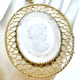 Glass Intaglio Cameo Necklace by Whiting & Davis - The Jewelry Lady's Store