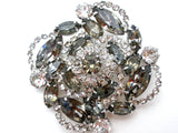 Gray & Clear Rhinestone Brooch Pin Vintage - The Jewelry Lady's Store