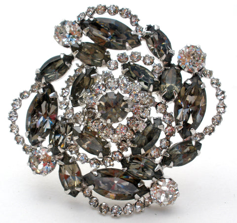 Gray & Clear Rhinestone Brooch Pin Vintage
