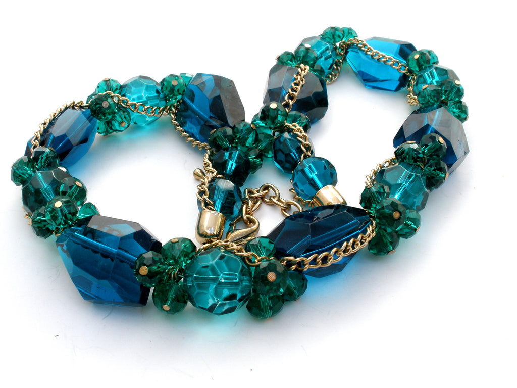 Green & Blue Glass Bead Necklace - The Jewelry Lady's Store