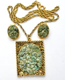 Green Jade Necklace & Earrings Vintage - The Jewelry Lady's Store