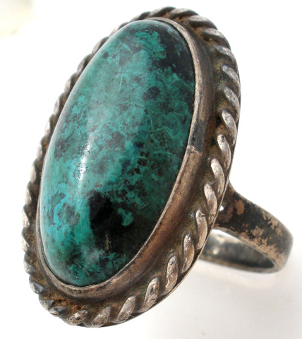 Green Turquoise Ring Sterling Silver Size 6.5