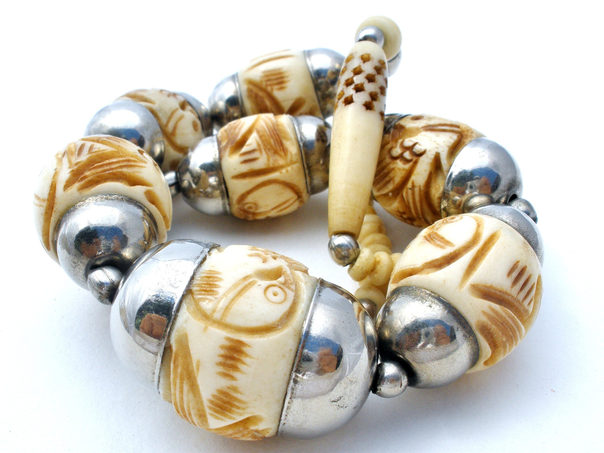 Hand Carved Bone Bead Necklace With Birds Vintage The Jewelry Lady S Store