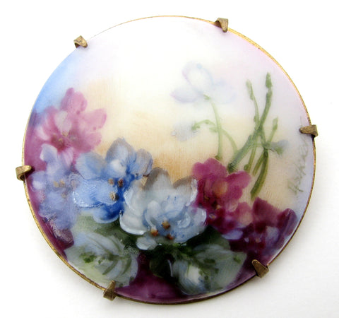Hand Painted Porcelain Flower Brooch Vintage