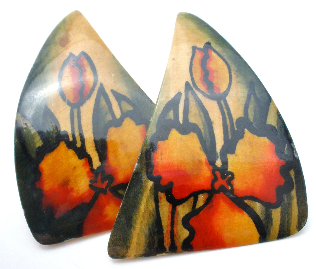 Hand painted Bone Pierced Earrings Vintage - The Jewelry Lady's Store