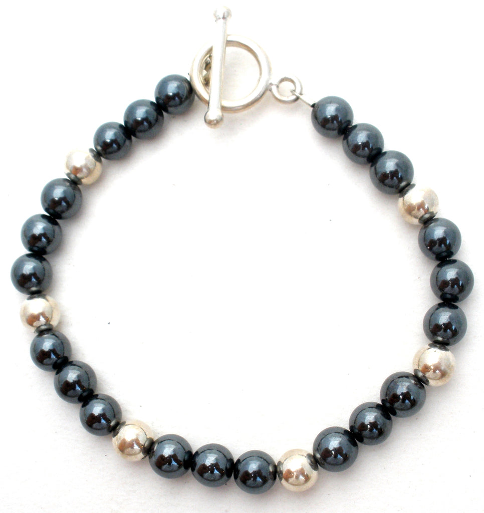 Hematite & Sterling Silver Bead Bracelet - The Jewelry Lady's Store