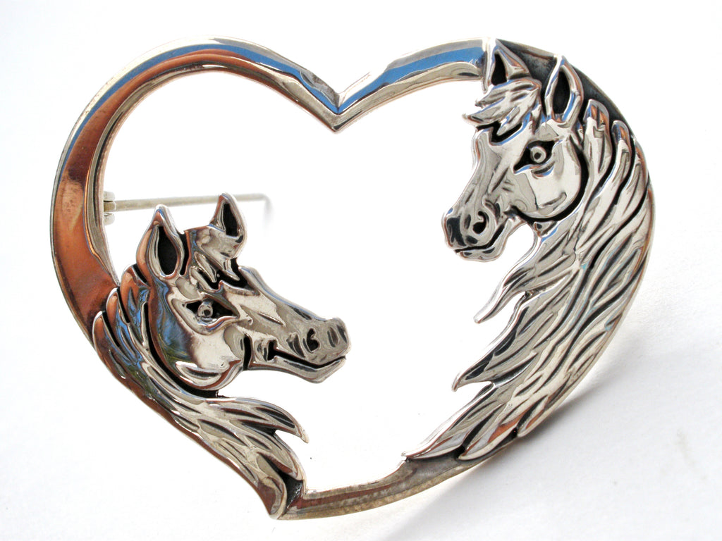 Horse & Heart 925 Brooch by Frank Chavez - The Jewelry Lady's Store