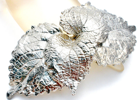 Huge Vintage MIMI DI N Silver Tone Leaf Belt Buckle