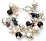 Italian Sterling Silver Bead & Pearl Bracelet - The Jewelry Lady's Store