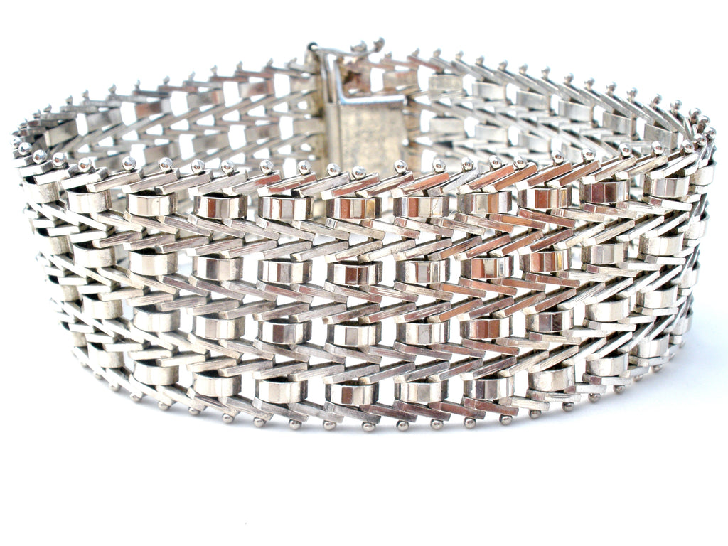 Italian Sterling Silver Foxtail Link Bracelet Vintage - The Jewelry Lady's Store