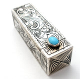 Italian 800 Silver Lipstick Holder with Turquoise - The Jewelry Lady's Store