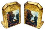 Italian Florentine Bookends Vintage Toleware - The Jewelry Lady's Store