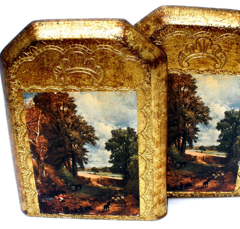 Italian Florentine Bookends Vintage Toleware