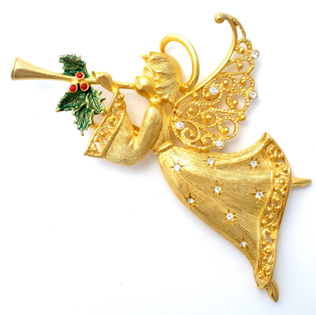 JJ Christmas Angel Gold Tone Brooch - The Jewelry Lady's Store