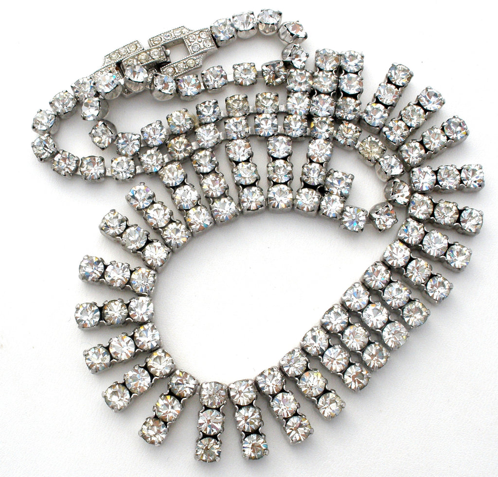 Kramer Clear Rhinestone Necklace Vintage NY - The Jewelry Lady's Store - 1
