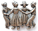 Lang Sterling Silver Brooch with Children Dancing - The Jewelry Lady's Store
